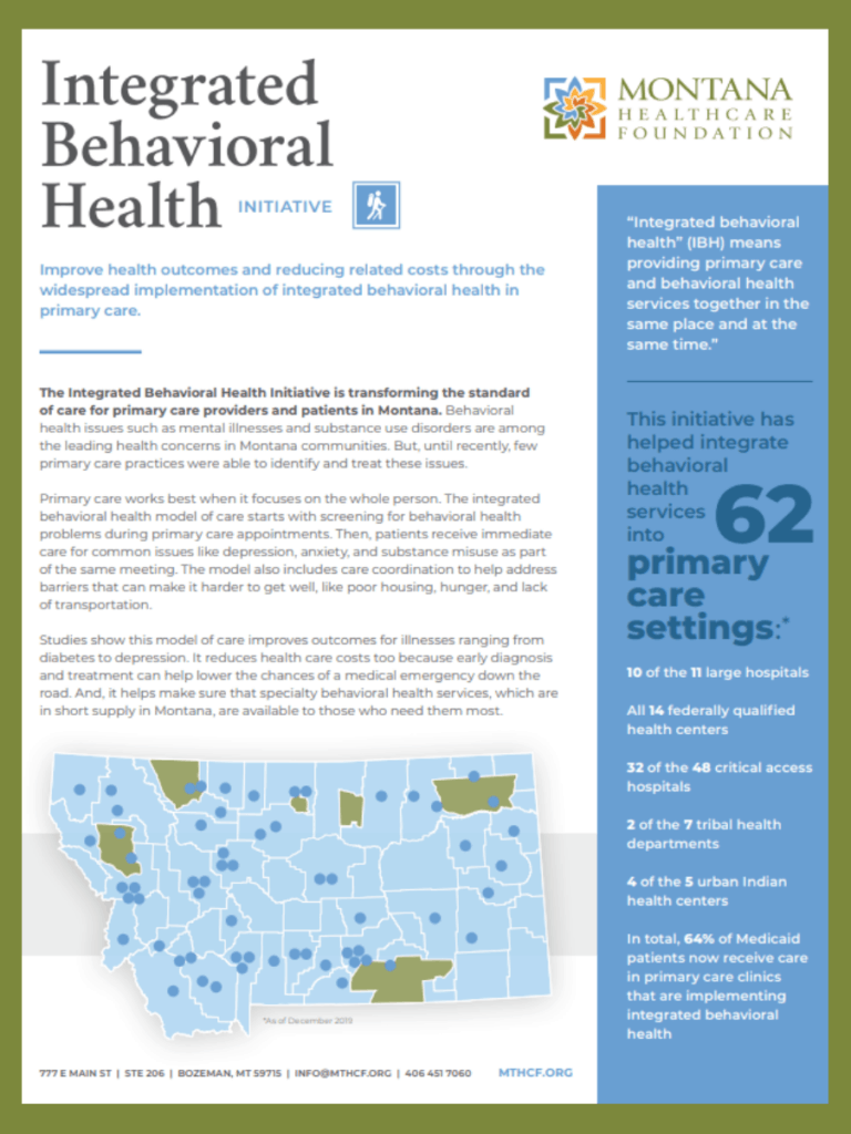 Integrated Behavioral Health | Montana Healthcare Foundation